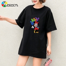 Women Fashion Minnie Mickey Mouse Print Short Sleeve Plus Size T-shirt Harajuku Party Club Tees