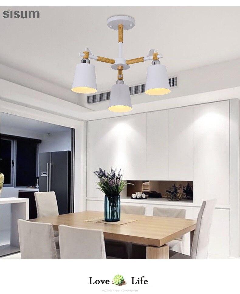 Nordic Chandelier E27 With Iron Lampshade For Living Room Suspendsion Lighting Fixtures Lamparas Colgantes Wooden Lustre цена в Москве и Питере