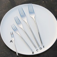 6pc Stainless Steel Fork set Fruit Salad Dinner Forks Dessert Cake Fork with Elegant Long Handle Dinnerware Cutlery Set