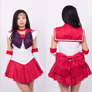Anime The Sailor Moon  Hino Rei Cosplay Costume Full Set Halloween Stage Party New Fashion Figure Cosplay Suit Drop Ship
