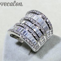Vecalon Luxury Women Valuable Jewelry Ring Simulated Diamond Cz 925 Sterling Silver Engagement Wedding Band Ring
