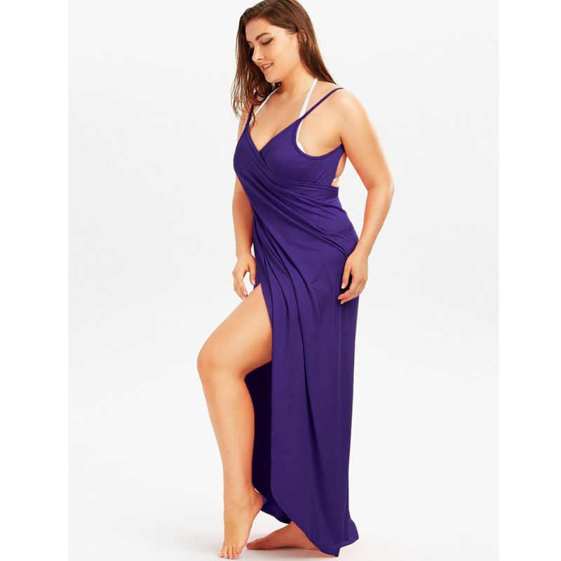 ワイン赤サロンビーチドレス 2019 ホリデービーチウェアの女性の夏のセクシーなローブスパゲッティストラップビッグサイズラップ Vestido 5XL