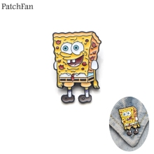 Patchfan Squarepants Patrick Star Zinc tie Pins backpack clothes brooches for men women decoration badges medal A1214