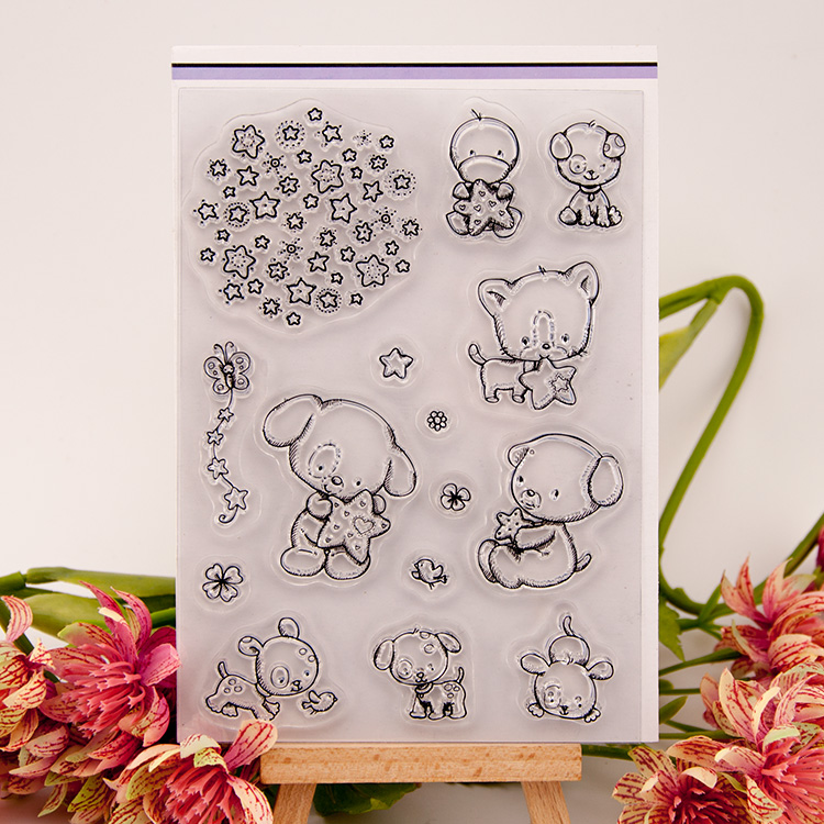 lovely bear and star design clear transparent stamp rubber stamp for DIY scrapbooking paper card photo album decor EE-037 clear acrylic a3a4a5a6 sign display paper card label advertising holders horizontal t stands by magnet sucked on desktop 2pcs