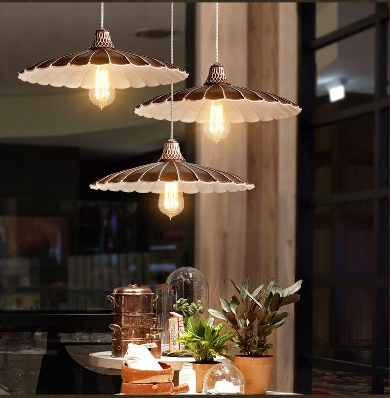 Nordic Industrial wind retro chandelier lamp restaurant aisle bar cafe bar black umbrella skirt small lamps Pendant Lights     - title=