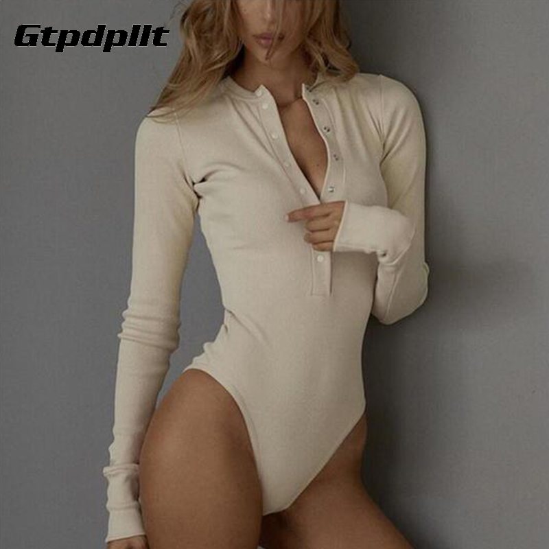 Gtpdpllt Ribbed Knitted Sexy Bodycon Bodysuit Women Autumn Long Sleeve Slim Rompers Womens Jumpsuit Casual Skinny Party Overalls
