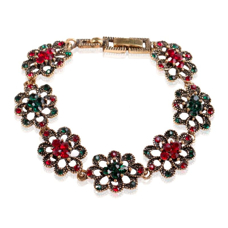 MIARA.L Supplying Popular Hollow-out Flower Decoration Fashion Red Green Hand Decoration Hot Sale Retro Luxury Bracelet