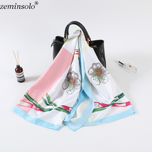 Luxury Brand Silk Scarf Women Floral Bamboo Print Square Scarves Shawls Large Foulard Femme Twill Bandana 130*130cm