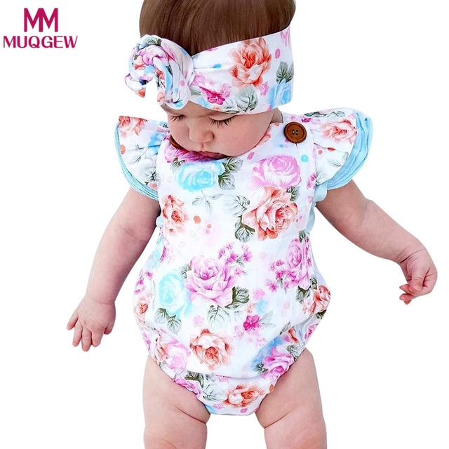 fe505ace3ad newborn baby boutique vintage floral romper jumpsuit Girl Bloomer Ruffle  Romper Kids clothes matched headband