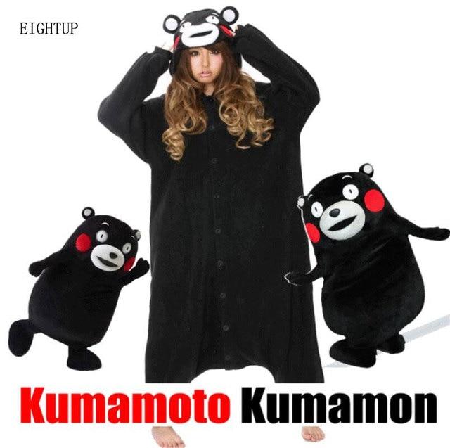 Кигуруми мультфильм животных Черный Kumamon медведь Onesie унисекс для  взрослых пижамы косплэй костюмы пижамы Кумамото ночное a6723c6d5072f