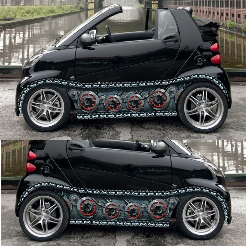 Car styling 3d car sticker auto body tank chain stickers decals vinyl wrap change color film car covers for smart in car stickers from automobiles