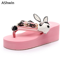 AShwin fashion high heels sandals summer flip flops bohemia thong slippers  handmade outdoor shoes heels hawaiian 854a956516c6
