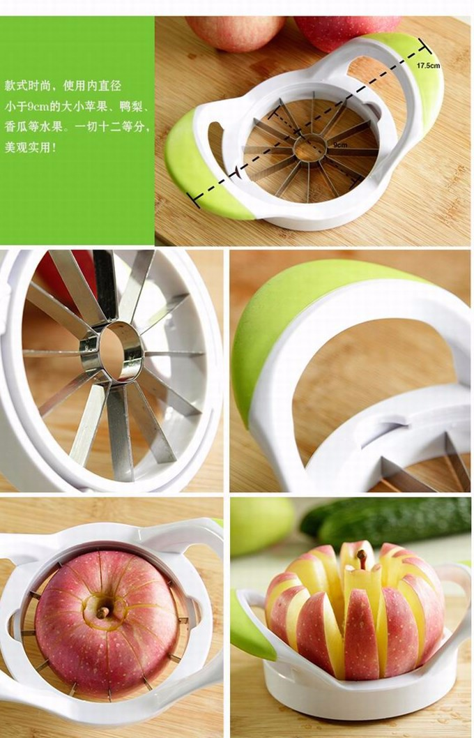 High-quality kitchen creative stainless steel fruit slicer cut apple fruit device Pear Muskmelon cutter separator free shipping 4