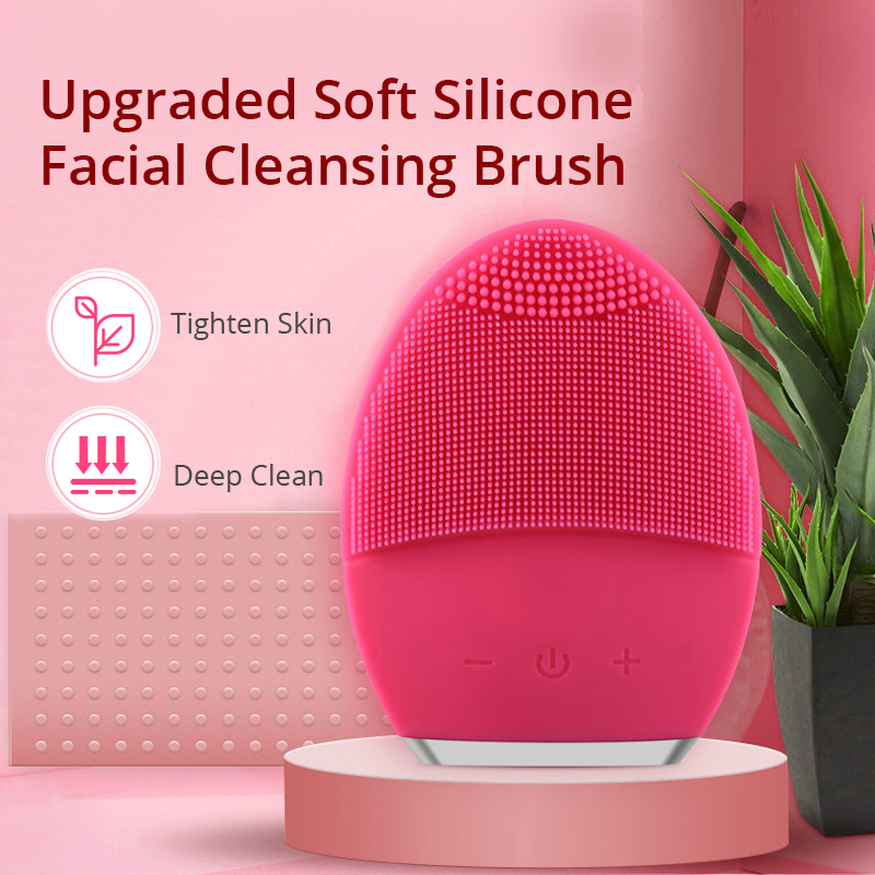 Sonic Electric Facial Cleansing Brush Waterproof Massager Rechargeable Anti Aging Face Skin Beauty Tool