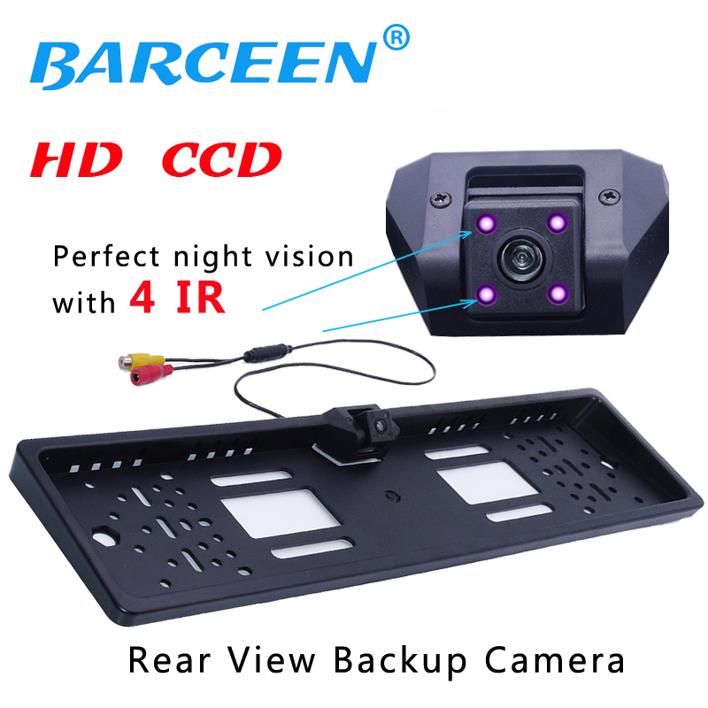 New Arrival Waterproof 4IR Night Vision European License Plate Frame Rear View Camera Auto Car Reverse Parking Rearview Camera new arrival car us licence plate frame rearview camera infrared led lights night vision camera waterproof with metal housing