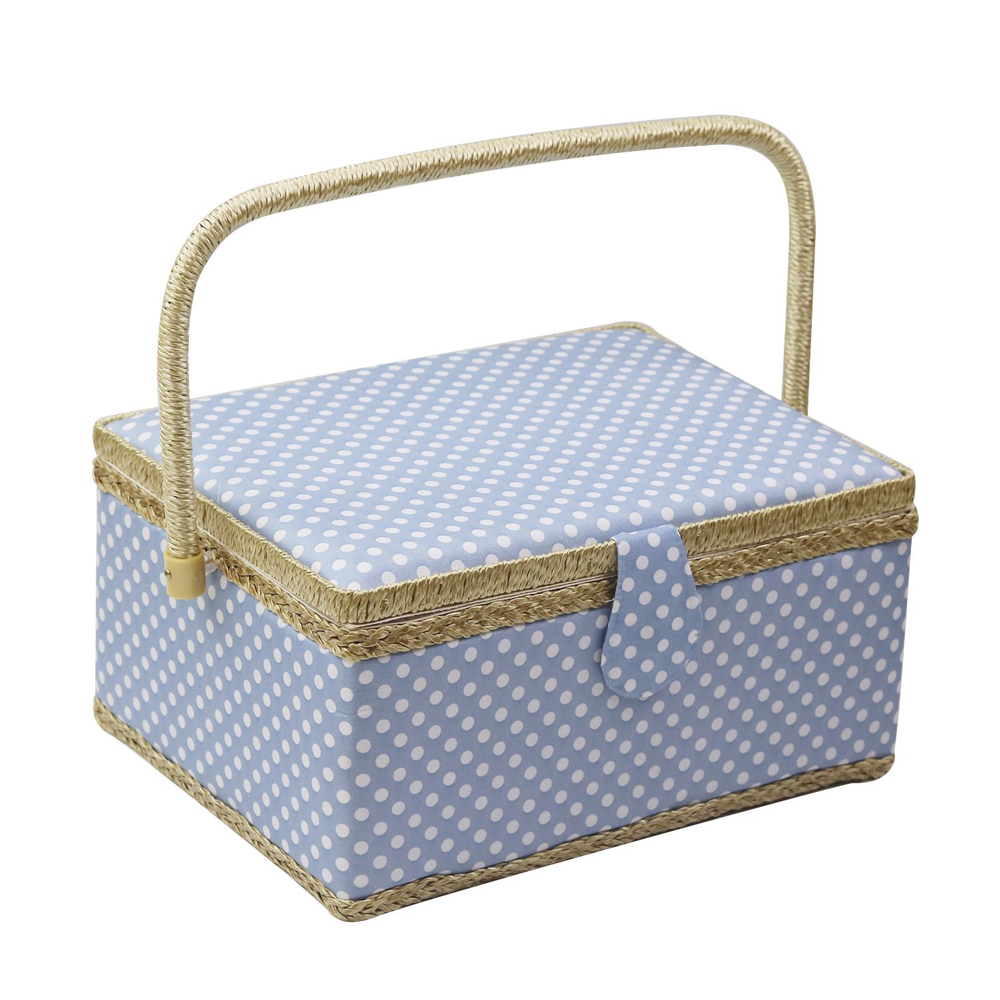 Fabric Sewing Basket Pure Color Handmade Craft Sewing Kit Storage Box Household Basket with Wooden Bottom and Handle Blue