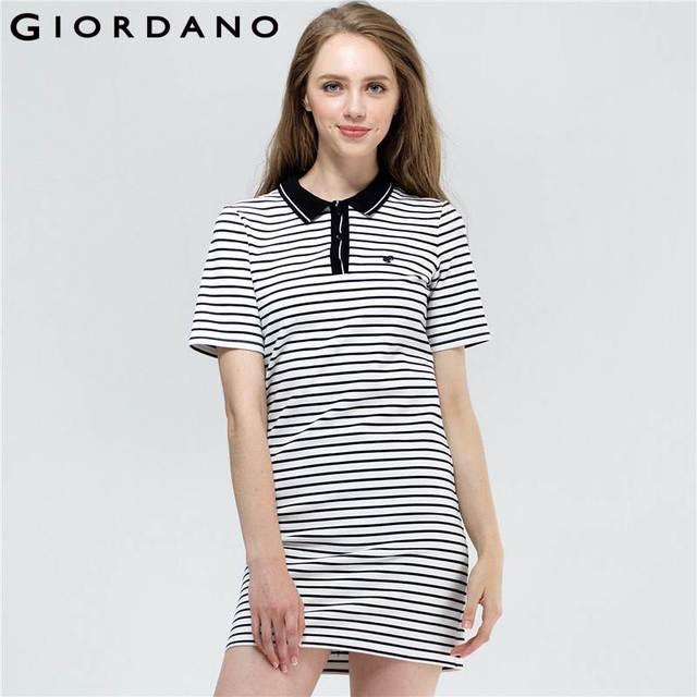 4b0924f3d Giordano Women Dress Frog Pattern Stripe Polo Dress Color-Blocking Short  Sleeve Dress Flat Collar Vestito Soft Clothes