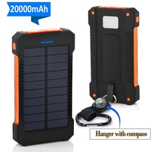 20000mAh Portable External Battery Poverbank Solar Power Bank Dual USB Powerbank For Android iPhone Xiaomi