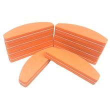 50 X Professional Nail File Orange Mini Sponge Nail Buffer Files For UV Gel Nails File Sanding Polisher Block Manicure Care Tool недорого