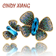 CINDY XIANG 2 colors choose large rhinestone butterfly brooches for women new autumn design insect pins vintage coat jewelry