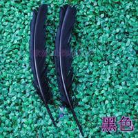 Gros 100 pcs 25 - 30 cm noir couleur véritables plumes de dinde naturelles plumes cheveux extensions plume d'oie