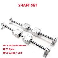 SHAFT SET: 2PCS Linear Shaft8/10/12 300/500mm+ 4PCS SCS8/10/12UU Bearing Blocks+ 4PCS SK8/10/12 Supprot Unit for 3D printer CNC