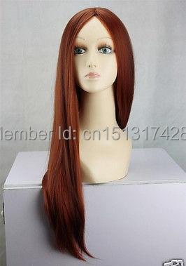 Nouveau Cosplay cuivre rouge et brun foncé Mix droite Halve longues femmes pleine perruque