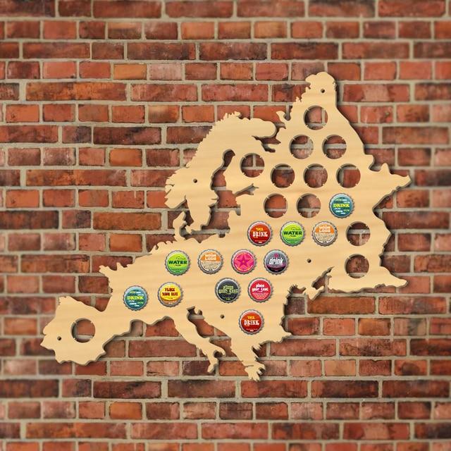 Euro bouchon de bière en bois carte européenne | Carte Pub Bar, signe mural en bois, bouteille de bière bouchon présentoir, support homme Cave bière amant cadeau