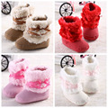 2016 TOP Sale Hot Pink Bow Winter Keep Warm Newborn Baby Kids Bebe Prewalker Girls Princess Crib Shoes Boots Booties First Walks