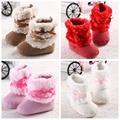 2016 TOP Sale Hot Pink Bow Winter Keep Warm Newborn Baby Kids Bebe Prewalker Girls Princess Crib Shoes Boots Booties First Walks
