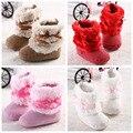 2016 TOP Venda Hot Pink Bow Inverno Manter Quentes Do Bebê Recém-nascido crianças Bebe Prewalker Meninas Princesa Sapatos Berço Botas Sapatinho Primeiro Caminha