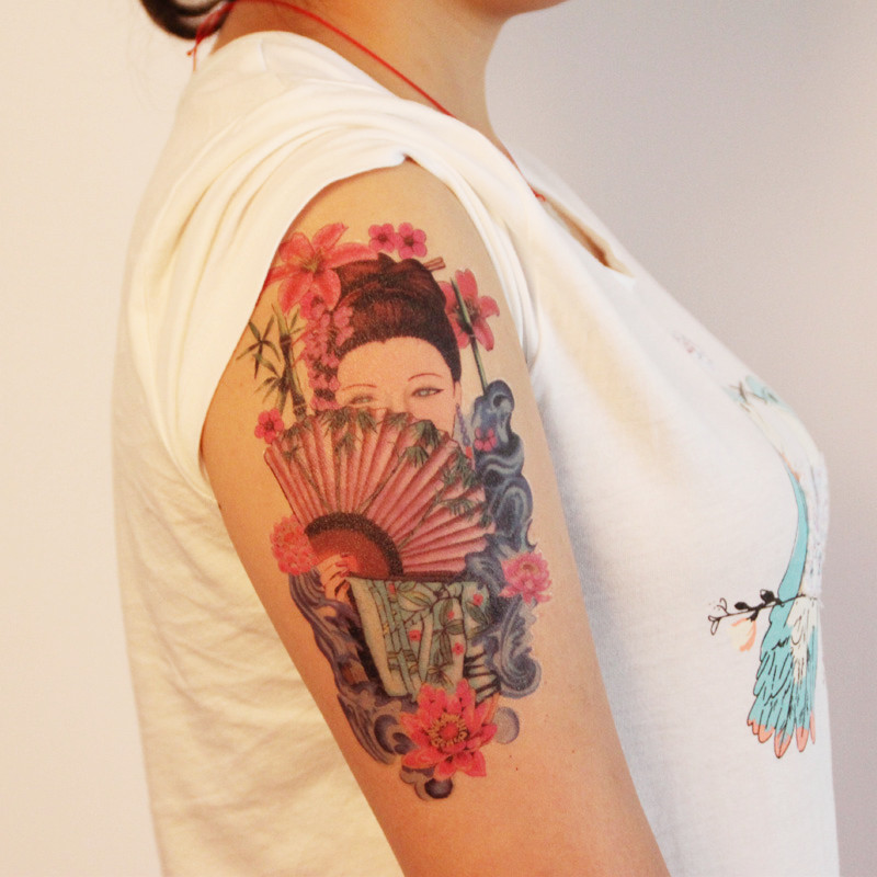 Temporary Tattoos Sticker for Women Arm Leg Sexy Large Fake Flower Fan Japanese Geisha Design Waterproof Long Lasting Makeup