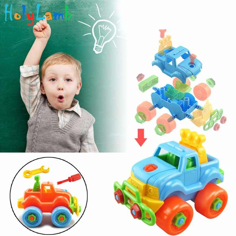 Disassembly Assembly Nut Toy Car Classic Toy with Assemble Screw Driver Early Puzzle Educational Toys for Children Kids