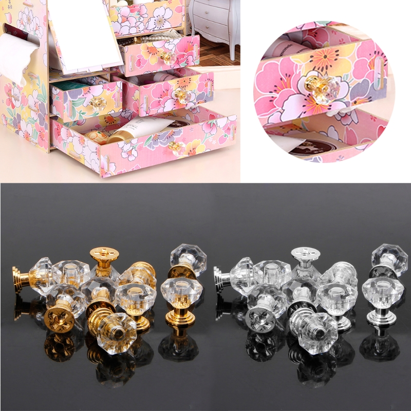 OOTDTY 10PCS Diamond Shape Crystal Glass Cabinet Knob Drawer Pull Handle For Jewelry BoxOOTDTY 10PCS Diamond Shape Crystal Glass Cabinet Knob Drawer Pull Handle For Jewelry Box
