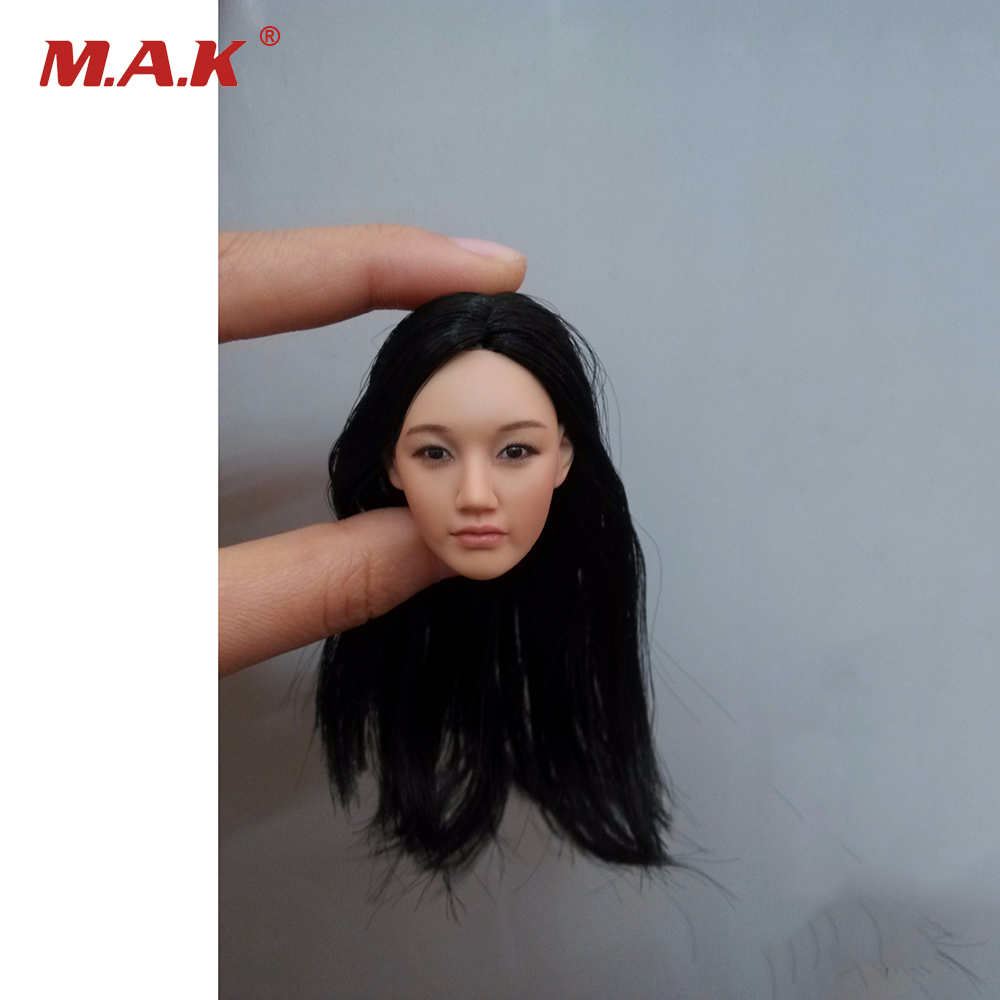 1/6 Popular KM-38 Female Head Sculpt Model With Black hair For 12'' Female Action Figure Body Doll Toys 1 6 female head for 12 action figure doll accessories marvel s the avengers agents of s h i e l d maria hill doll head sculpt