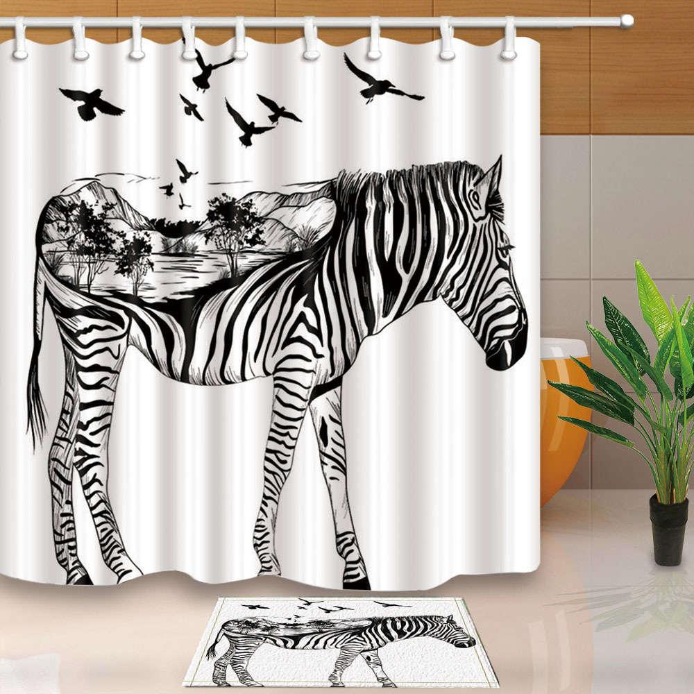 Zebra Horse Unicorn Fashion Waterproof Fabric Cloth Home Decor for Bath Washable Shower Curtain Bathroom Curtains with 12 Hooks zwbra shower curtain