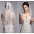 One Layer Bridal Hair Accessory With Comb White Ivory Tulle Pearl Beaded Short Wedding Veil