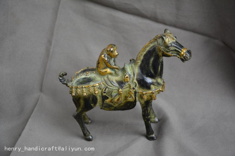 Antiques Art Collection Old Chinese 18C BRONZE carving Monkey&Horse Statue/ Sculpture, best adornment,free shipping