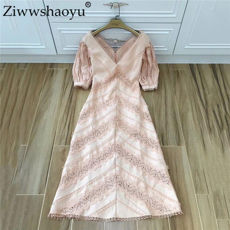 ZiwwshaoyuSummer Designer robe femmes haut de gamme manches bouffantes col en v broderie découpe Midi coton robe de soirée 3 couleurs