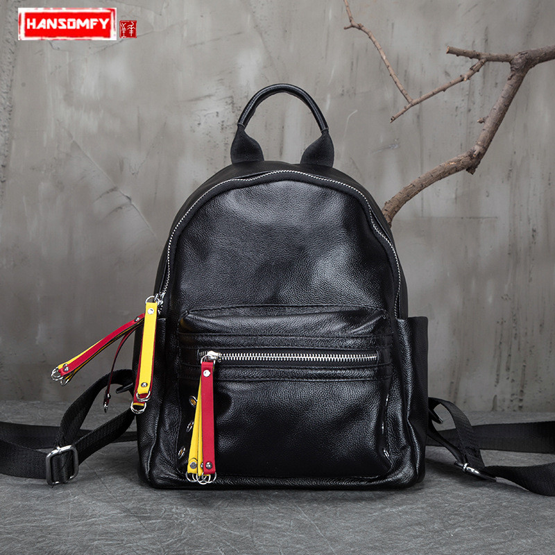 2018 Women Backpacks new first layer leather travel shoulder bag small Korean female Black genuine leather school girl backpack free shipping dh48j ac dc 24v 50 60hz count up 8 pins 1 999900 digital counter relay