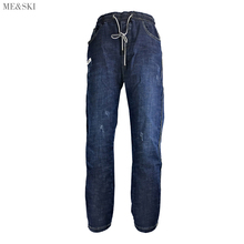 ME&SKI Fashion Women Jeans Regular Casual Pants Ankle-length Ripped Lace Up Denim Boyfriend for Blue