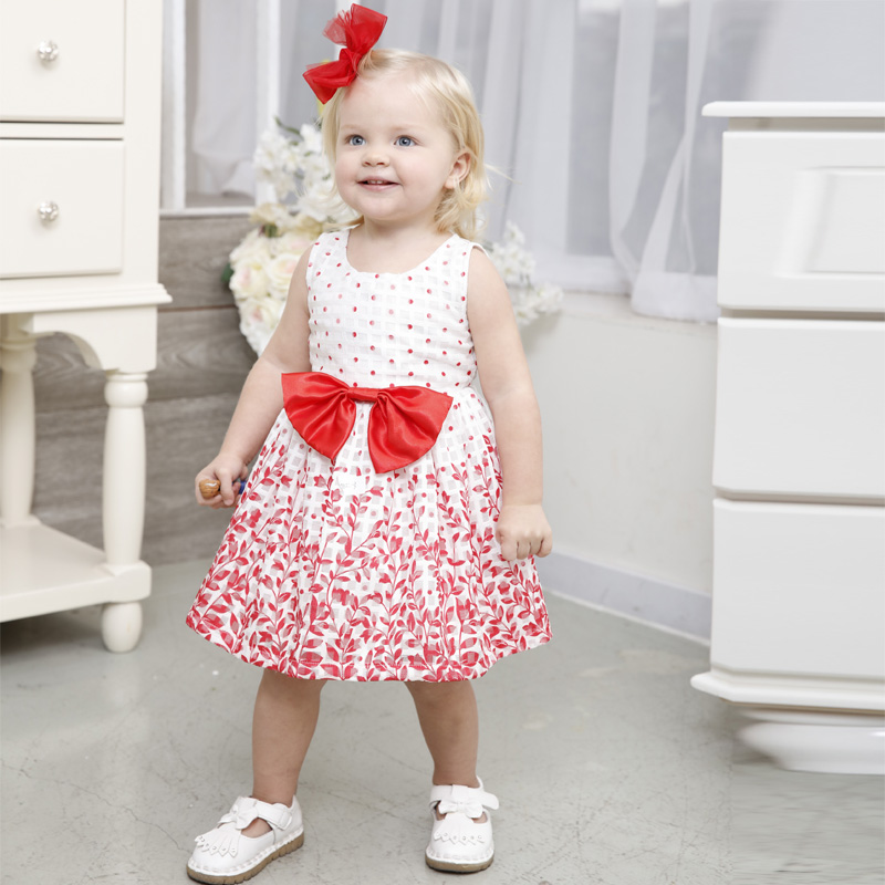 Beautiful baby girl dresses leaf printing backless sleeveless big bowknot summer first birthday girl party dresses