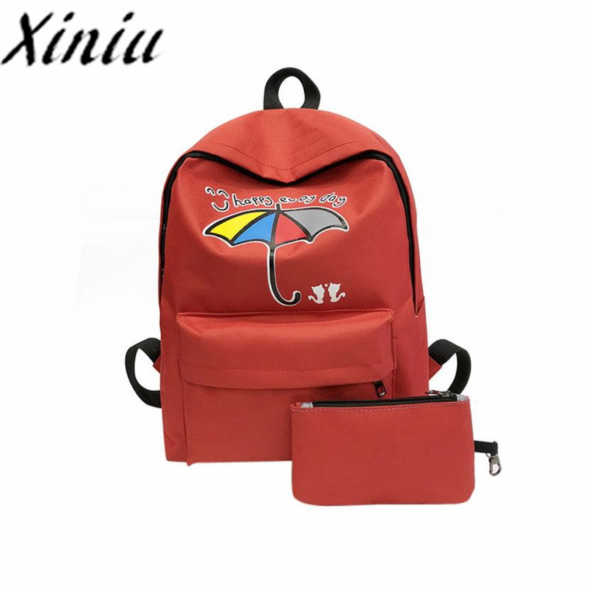 2PC Cartoon Canvas Backpack School Backpack For Teenage ZIPPER Woman Backpacks School Bags Travel Backpack #SS