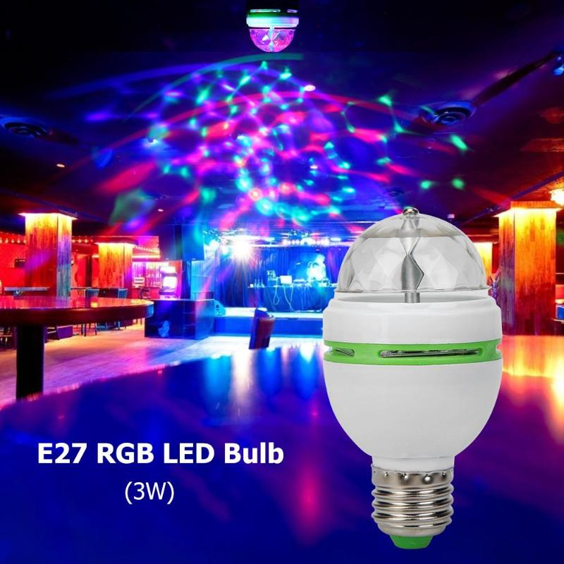 E27 RGB LED Bulb 3W Rotating Crystal Magic Ball Stage Party DJ Disco Light