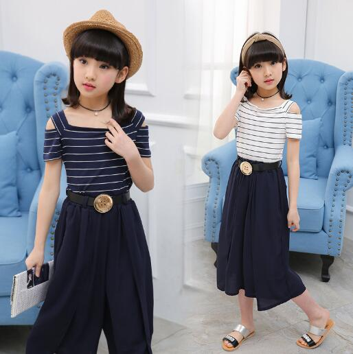 Teenage Girls Summer Clothing Sets Kids Striped Tops + Wide Leg Pants 2pcs/ Suits for Baby Girls 6 8 10 12 Years striped self tie wide leg pants