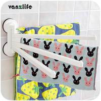 vanzlife Korean DeHUB strong sucker five rotating rods bath towel hanging rack bathroom