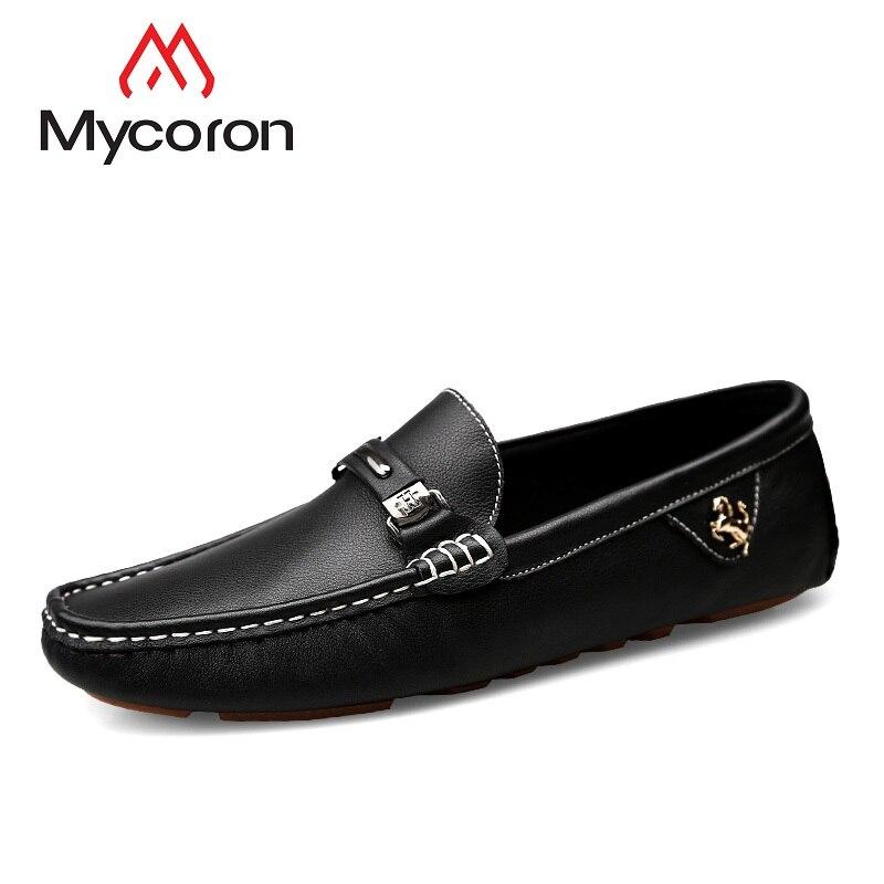 Hombres Ocio Moda Cuero Transpirables zapatos Genuino Marca De Zapatos Cómodos Conducción Loafer Mycoron Lujo Negro Suave Inferior dtwBqq7