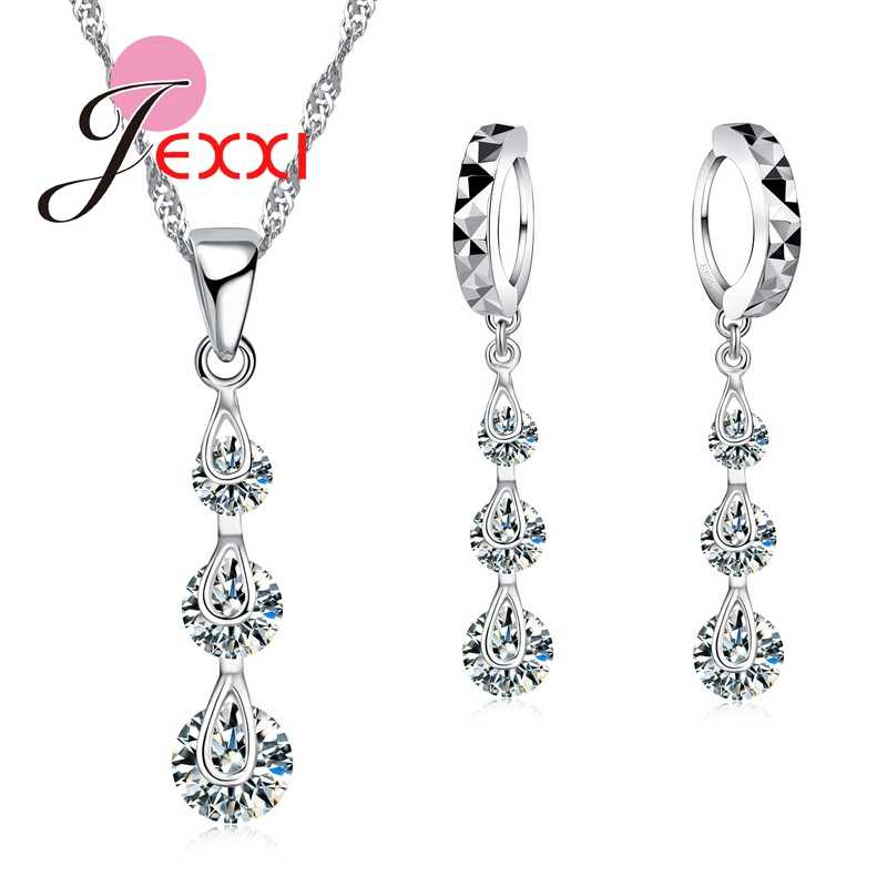 Classic 925 Sterling Silver Chain Cubic Zirconia Long Tassel Necklace Earrings Brincos Women Jewelry Set  Accessories