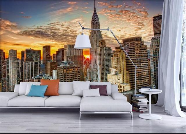 Photo Living Room Wallpaper Custom Non Woven Mural Hd New York City Landscape