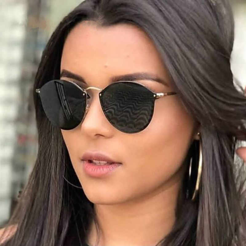 a841a9aaf545 2019 New Fashion Rimless Sunglasses Women Brand Designer Mirror Vintage  Round Cat Eye Sunglass Female Lady